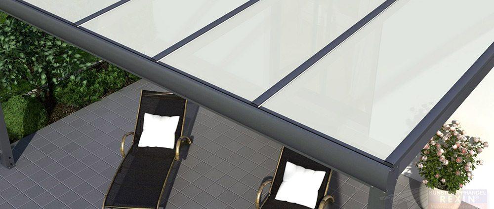 Alu-Terrassendach mit VSG-Glas opal