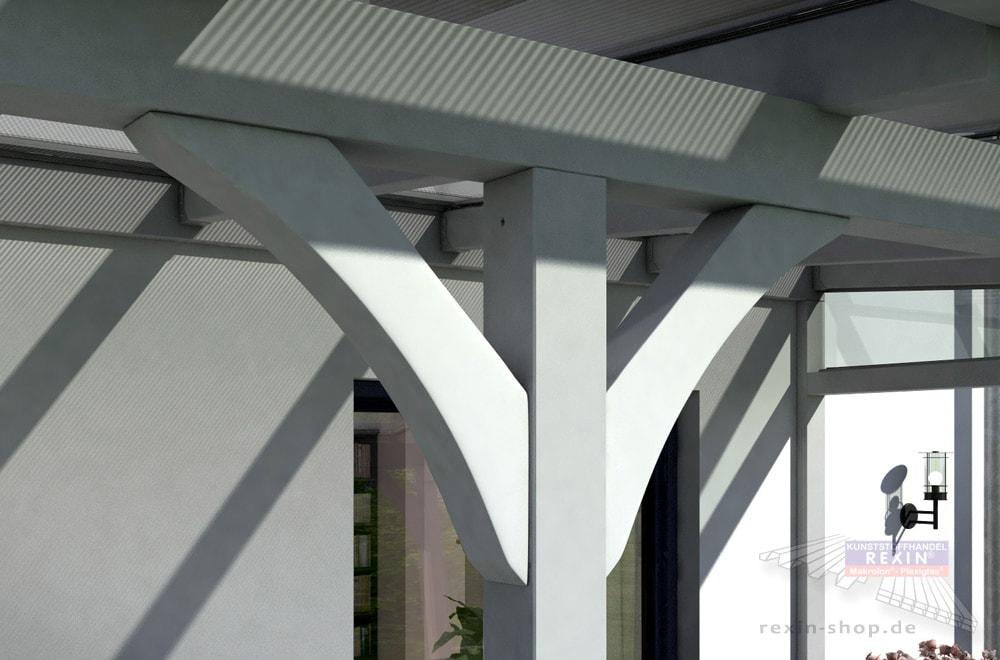 Kopfbänder: Verbesserte Statik, ansprechende Optik für das Holz-Terrassendach.