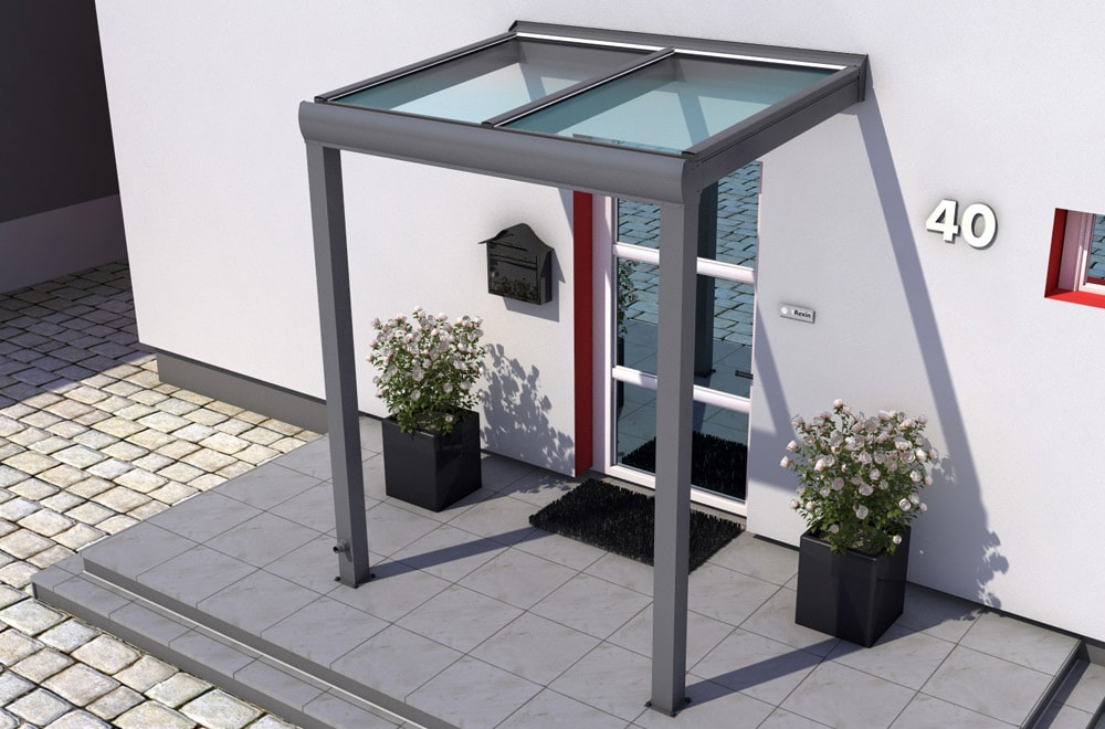 Alu-Vordach inklusive VSG-Glas: Höchste Transparenz & Sicherheit.