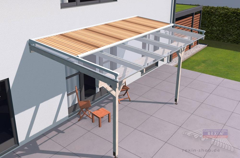 Auch für Holz-Terrassendächer eine tolle Ergänzung: eine Markise, hier im Design 'Terra'.