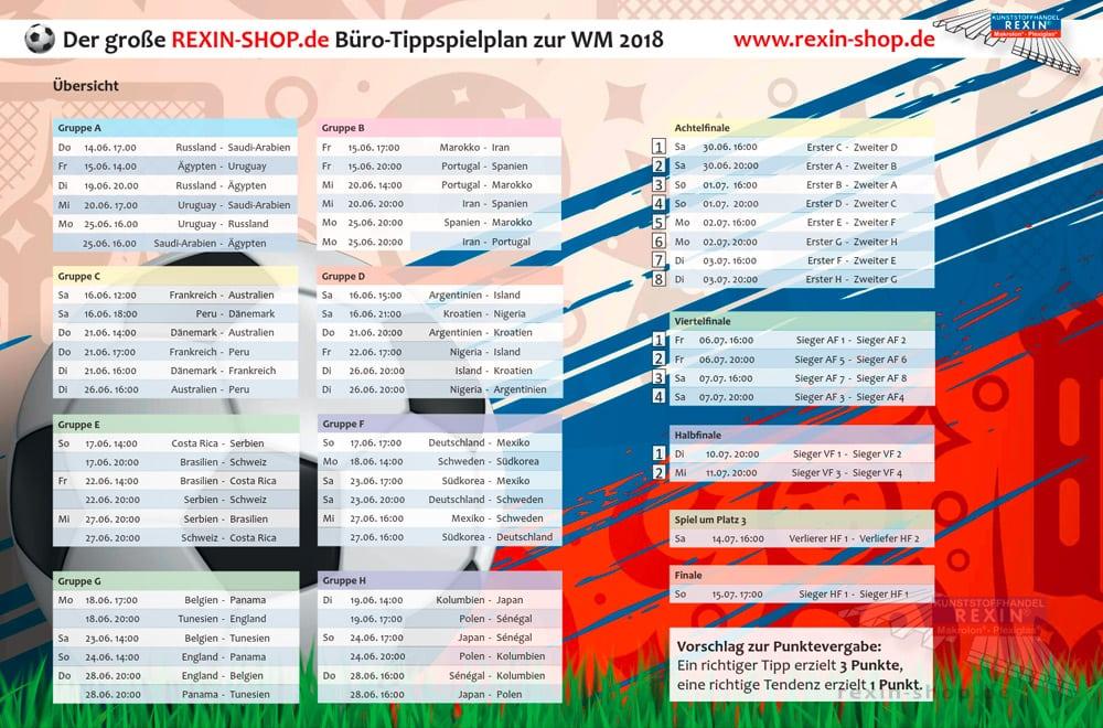 Auch zur Fussball-WM 2018 in Russland gibt es wieder einen kostenloses Tippspielplan speziell für größere Tipprunden!