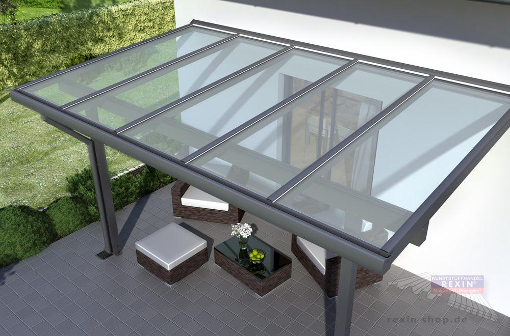 Alu-Terrassendach REXOclassic mit Verbundsicherheitsglas: Höchste Transparenz, sicheres Glas, robustes Aluminium.
