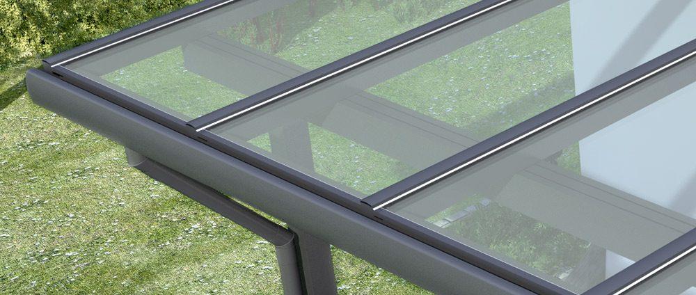 Alu-Terrassendach vorbereitet für VSG in neuen Größen