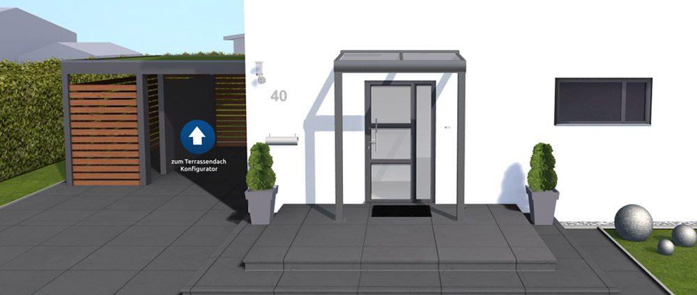 3D-Haustür-Vordach Konfigurator - Vordach individuell konfigurieren