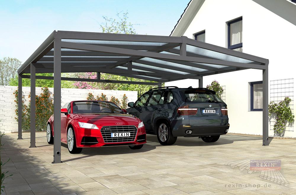 Alu-Carport REXOport: Die günstige Alternative zur Garage. Viel Platz für Ihre Fahrzeuge, robust und optisch ansprechend.