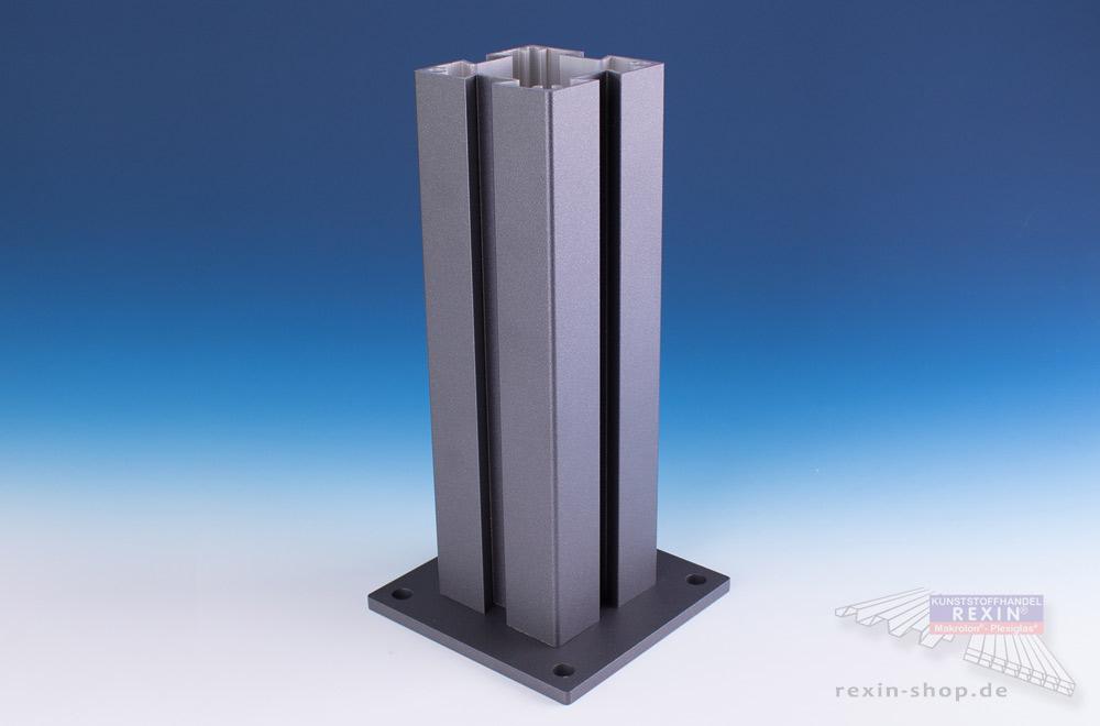 4er-Nut-Pfostenset, hier in der Farbe Anthrazit: für Zaun und Sichtschutz.