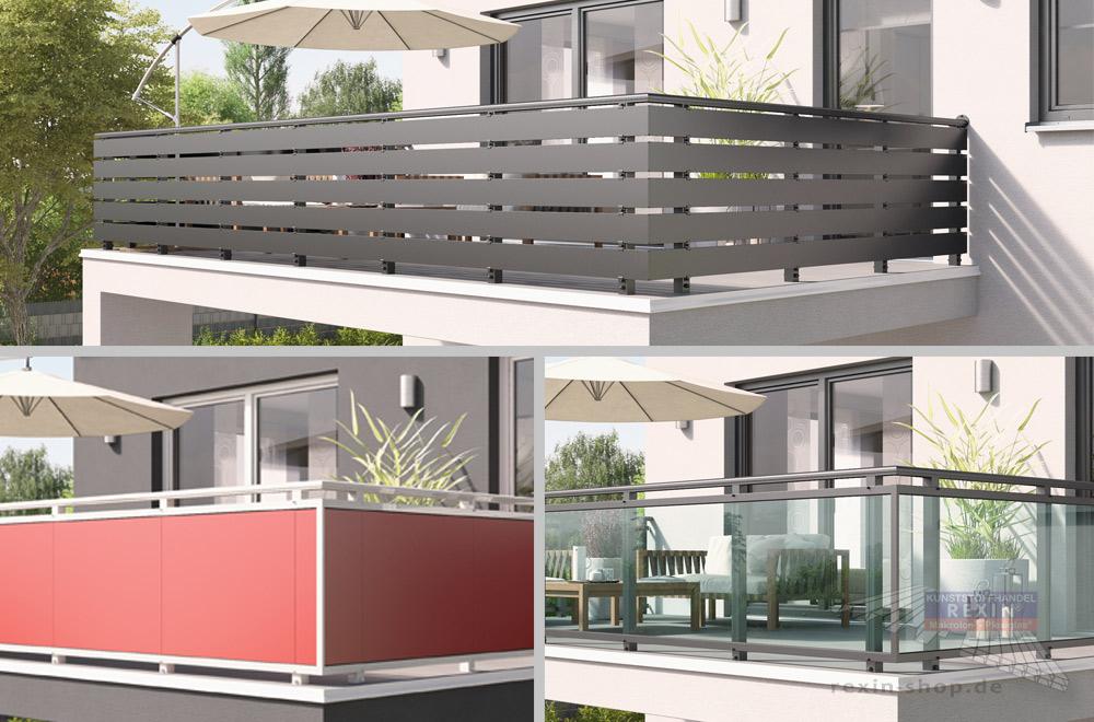 Hochwertige Balkon-Füllungen aus Alu, Trespa® oder Glas.