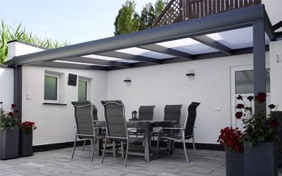 Ein schönes Alu-Terrassendach - dank Komplettbausatz wie aus einem Guss.