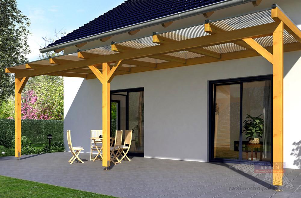 Sie haben eine besonders breite Terrasse? Auch dafür gibt es geeignete Dächer! Hier als Beispiel unser Holz-Terrassendach REXOcomplete.
