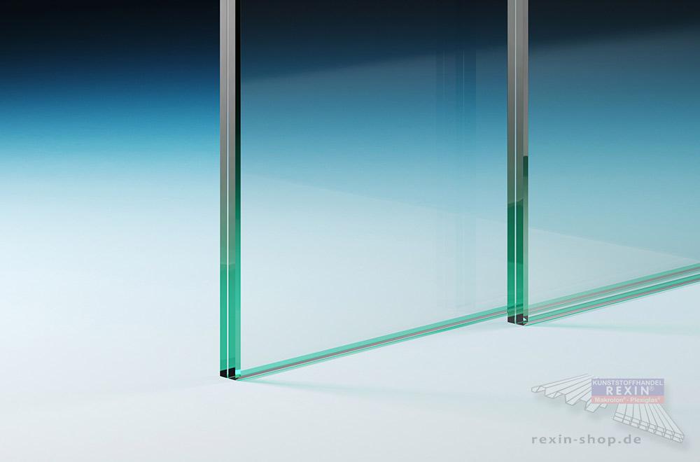 Transparentes Verbundsicherheitsglas (VSG) mit bearbeiteten Glaskanten.