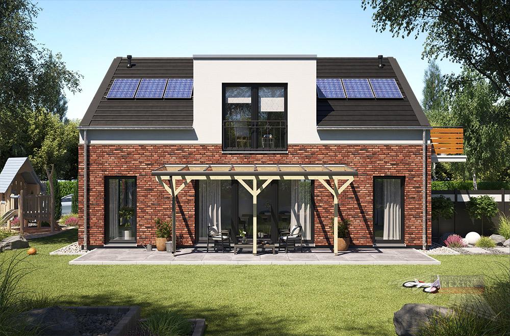 Ab sofort auch mit Glas als Dacheindeckung: Holz-Terrassenüberdachung REXOcomplete, inklusive Regenrinne und Entwässerung.