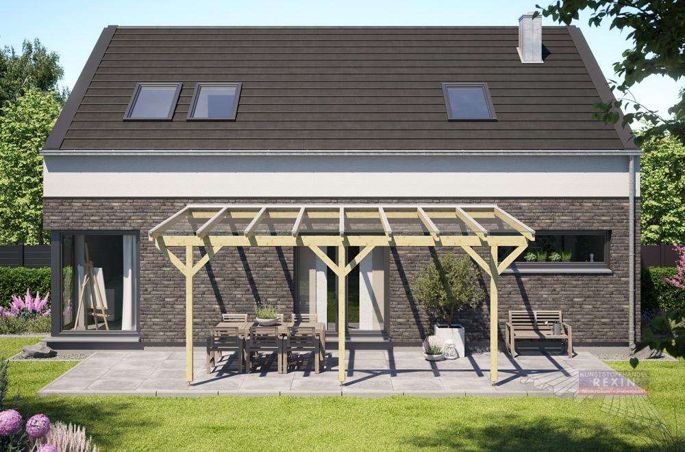 Holz-Terrassendach REXOcomplete: hier mit Verbundsicherheitsglas. Eine Terrassenüberdachung der Extraklasse.