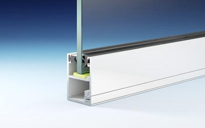 REXOwindow Seitenwand im Detail: hochwertiges, weiß beschichtetes Alu, Füllung aus Glas.