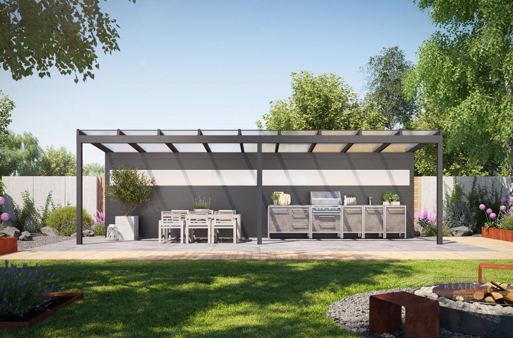 Alu-Überdachung REXOfree, hier mit einer Rückwand für eine praktische Outdoor-Küche.