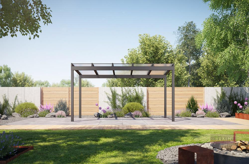 Freisitz REXOfree: eine attraktive, freistehende Alu-Überdachung für Ihren Garten.