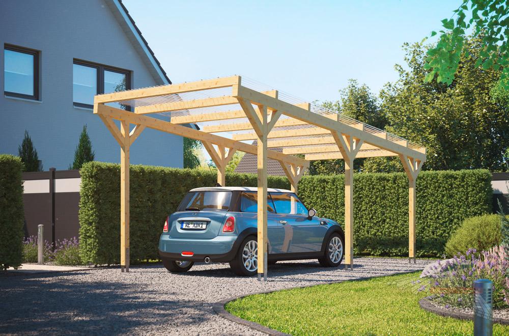 Freistehender Holz-Carport REXOwood: ein Flachdach-Carport der Extraklasse.