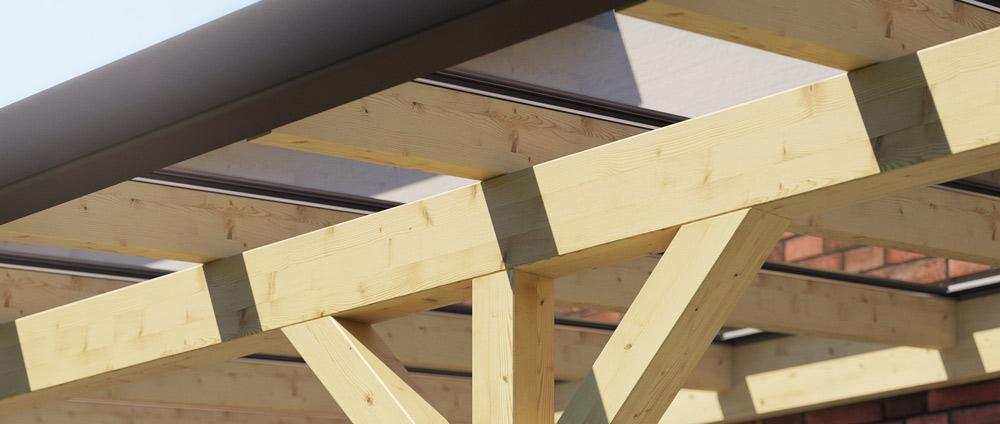Holz-Terrassendach mit Glaseindeckung & Entwässerung