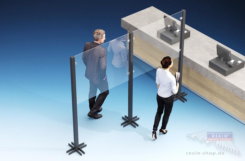 Mobile Trennwand für Warteschlangen: Corona-Infektionen vorbeugen.