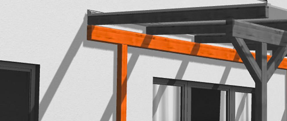 Terrassendach per Ständerwerk montieren: eine mögliche Lösung für ein Holzständerhaus.