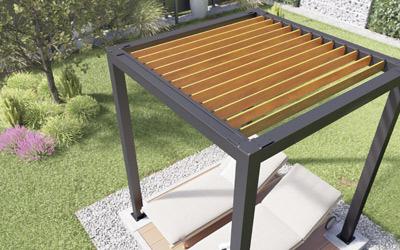 Eine Pergola mit einem Lamellendach: Sonnenschutz ohne Hitzestau.