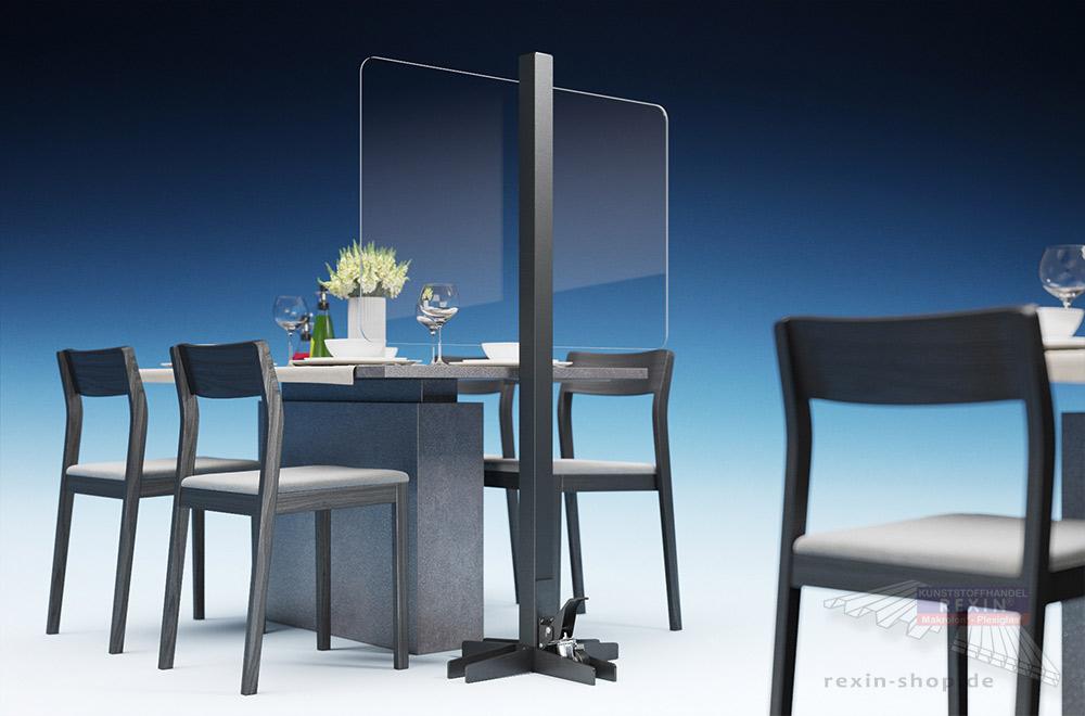 Hygenieschutz für die Gastronomie: mobile Trennwand aus Plexiglas®/Makrolon®.