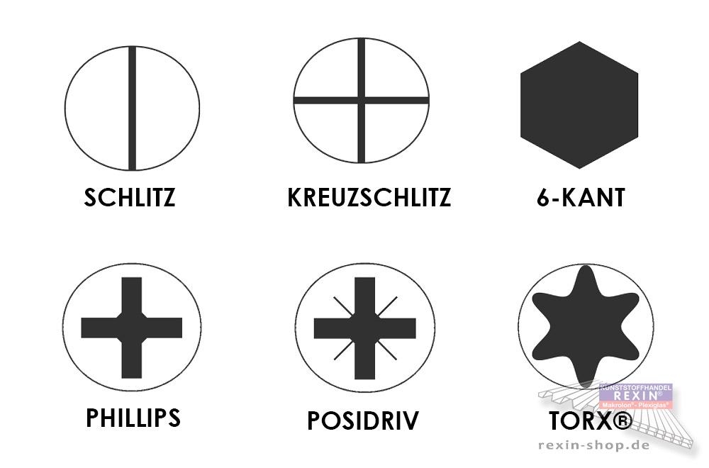 Die wichtigsten Schraubenantriebe als Schema.