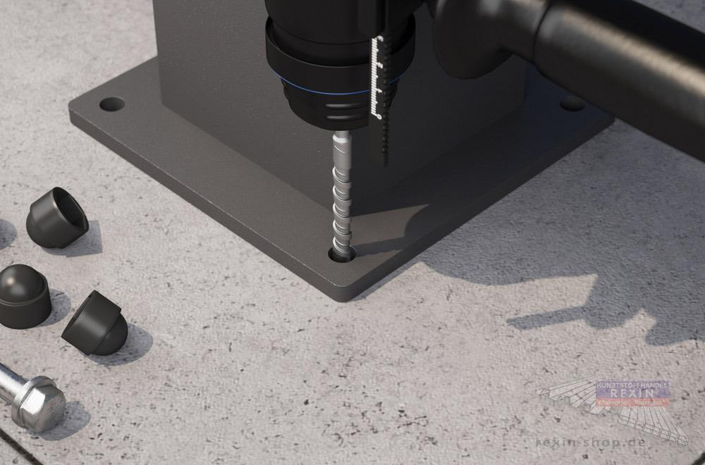 Bohrlöcher für das Terrassendach-Fundament: Mit dem passenden Bohrer geht's einfacher.