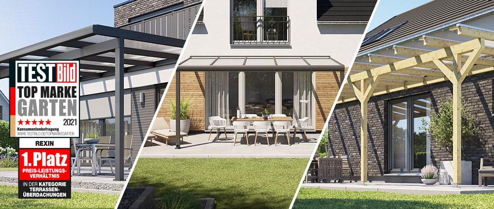 Terrassendach beim Testsieger kaufen – REXIN ist Topmarke bei Terrassenüberdachungen