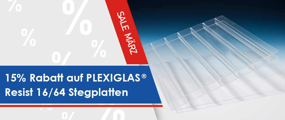15% Rabatt auf PLEXIGLAS® Resist 16/64 Stegplatten [Angebot des Monats]