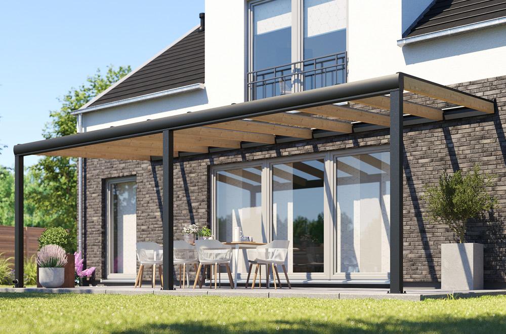 REXOdeluxe: ein Terrassendach aus Aluminium und Holz.