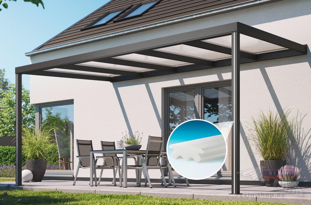 Abdeckprofil für die REXOconomy Alu-Terrassenüberdachung, LED-Variante.