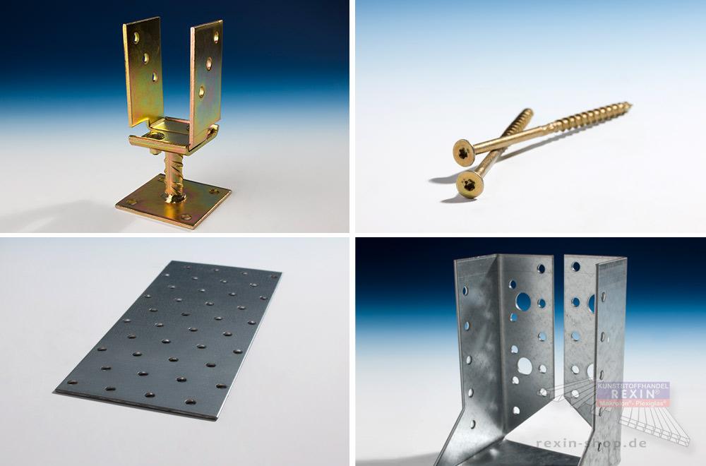 Collage von Material zur: Holzbefestigungstechnik: Balkenschuhe, Pfostenträger, Lochbleche, Schrauben.