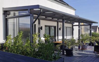 REXOclassic Alu-Terrassendach, 10 Meter breit.